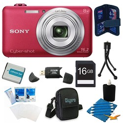 Sony DSC-WX80 16 MP 2.7-Inch LCD Digital Camera Red Kit