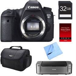 Canon EOS 6D DSLR Camera (Body Only) + Printer / Paper / 32GB Card