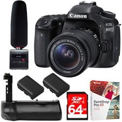 Canon EOS 80D CMOS DSLR Camera + STM Lens +Tascam Audio R...