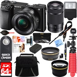 Sony Alpha a6000 24.3MP Mirrorless Camera 16-50mm & 55-210mm Zoom Lens 64GB Kit Black E12SNILCE6000K