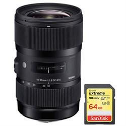 Sigma AF 18-35mm f/1.8 DC HSM Lens for Nikon w/ Sandisk 6...
