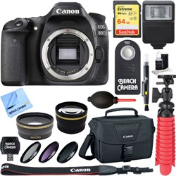 Canon EOS 80D 24.2 MP CMOS Digital SLR Camera (Body) - Memory & Flash Kit E12CNEOS80DBODY