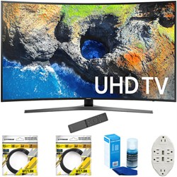 """Samsung 54.6"""" Curved 4K Ultra HD Smart LED TV 2017 Model With Cleaning Bundle"""