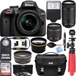 Nikon D3400 DSLR Camera w/ AF-P DX 18-55mm & 70-300mm Zoo...