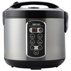 Aroma Professional 20 Cup Stainless Steel Digital Rice Cooker/Slow Cooker/Food Steamer AMARC2000ASB