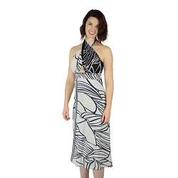 Iris Impressions 100 Way Wrap Skirt Dress, Hana - Black&White (One Size) IRISHANAKW