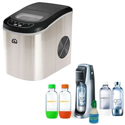 Igloo Compact Stainless Steel Ice Maker w/ Exclusive SodaStream Jet Soda Maker Bundle E3IGLICE102ST