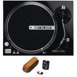 Reloop Quartz Driven DJ Turntable (Metallic Black) + Reco...