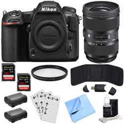 Nikon D500 20.9MP DX DSLR Camera w/4K Video (Body) & Sigm...