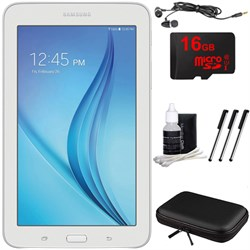 "Samsung Galaxy Tab E Lite 7.0"""" 8GB (Wi-Fi) White 16GB microSD Card Bundle"" E2SAMSMT113NDWAXAR"