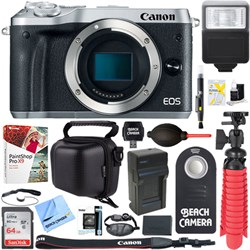 Canon M6 EOS 24.2MP Mirrorless Digital Camera Body (Silve...
