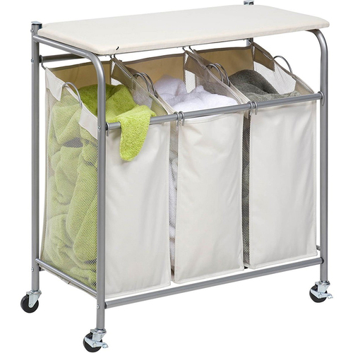 Honey-Can-Do Triple Sorter with Ironing Board - SRT-01196