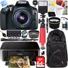 Canon EOS Rebel T6 18MP DSLR Camera w/18-55mm IS II Lens + Canon PIXMA Printer Bundle Deals