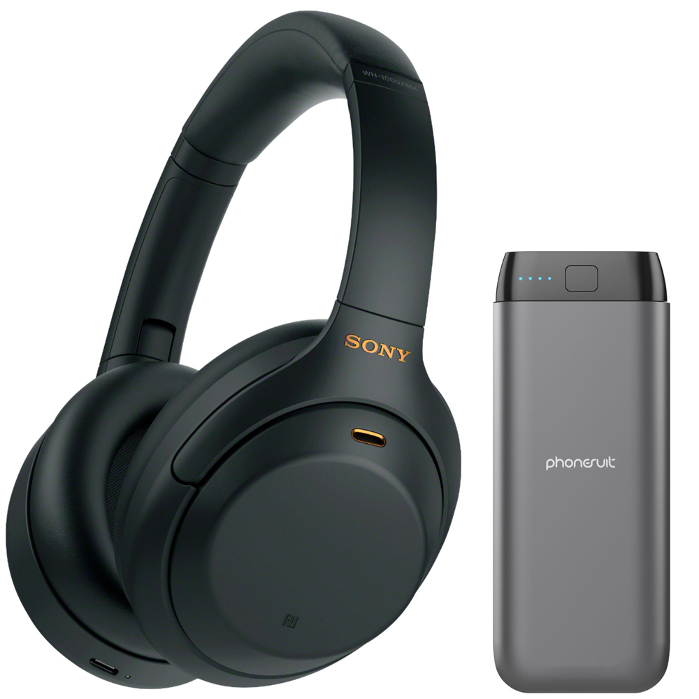 Sony WH-1000XM4 Wireless Noise Canceling Over-the-Ear Headphones with Mic (Black) + Energy Core Max Power Bank