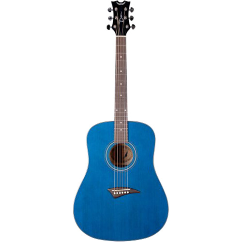 Dean AK48TBL Tradition Acoustic Guitar, Trans Blue with Hardshell Case