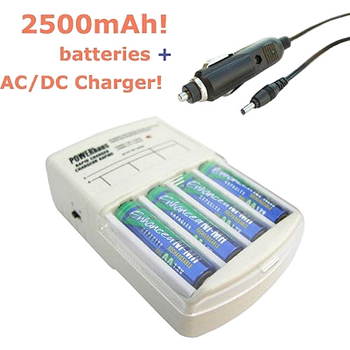 Powerhaus Rapid AC/DC Charger with four AA 2500mAh NiMH Batteries