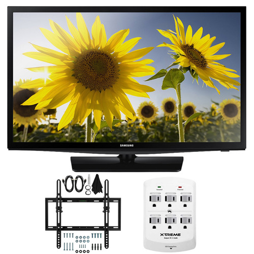 Samsung UN24H4500 24-inch HD 720p Smart LED TV CMR 120 Plus Tilt Mount & Hook-Up Bundle