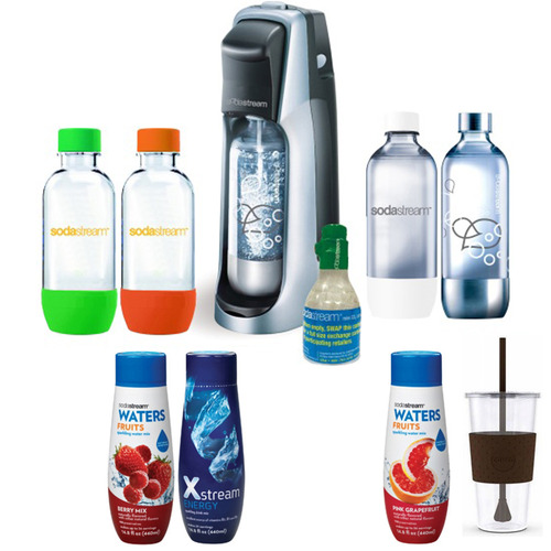 SodaStream Fountain Jet Soda Maker in Black with Exclusive Kit 4 Bottles & Mini CO2