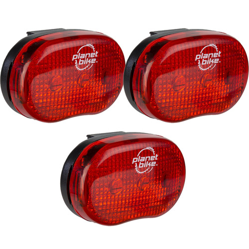 Planet Bike Blinky `3` 3-Led Rear Bicycle Light 3-Pack Bundle