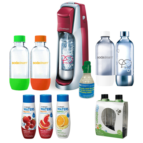 SodaStream Fountain Jet Soda Maker Bundle with 6 Bottles, 3 Flavors, and Starter CO2 (Red)
