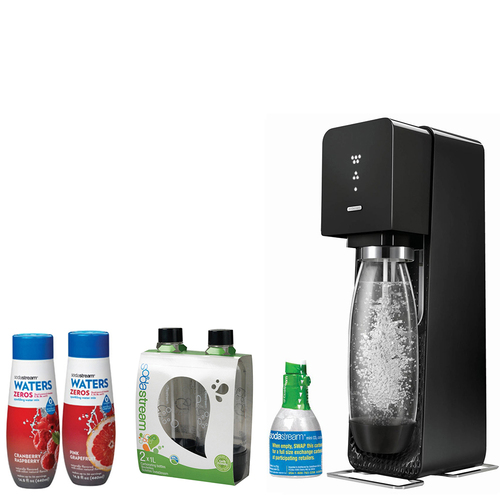 SodaStream Source Home Soda Maker Starter Kit, Black with Soda Maker Bundle