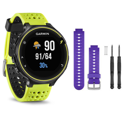 Garmin Forerunner 230 GPS Running Watch, Force Yellow - Purple Watch Band Bundle