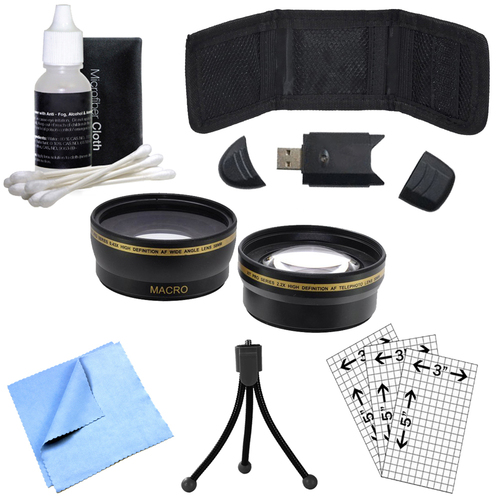 58mm Wide Angle & Telephoto Lens, Cleaning Kit, Memory Card Wallet and More