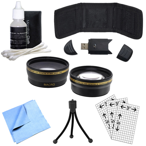 52mm Wide Angle & Telephoto Lens, Cleaning Kit, Memory Card Wallet and More