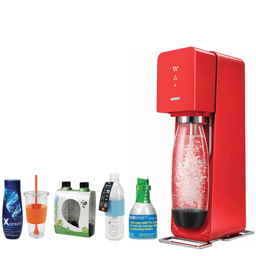 SodaStream Source Home Soda Maker Starter Kit, Red with Bundle