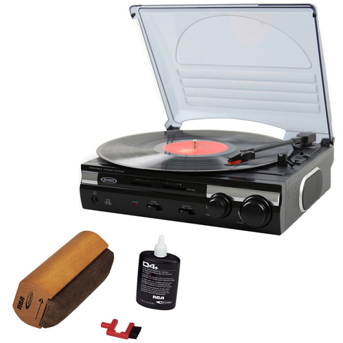 Jensen JTA-230 3-Speed Stereo Turntable with Built-in Speakers and Speed Adjustment Wit