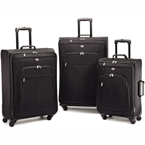 American Tourister Pop Plus 3 Piece Luggage Spinner Set Black (29 Inch, 25 Inch, 21 Inch)
