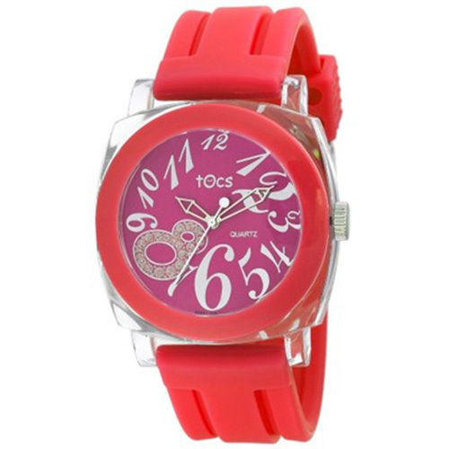 Tocs `Crystal 8` Analog Round Watch Red - 40320