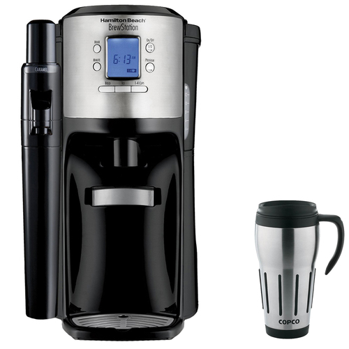 Hamilton Beach BrewStation with Flavor Dispenser Coffee Maker Black + Copco Travel Mug