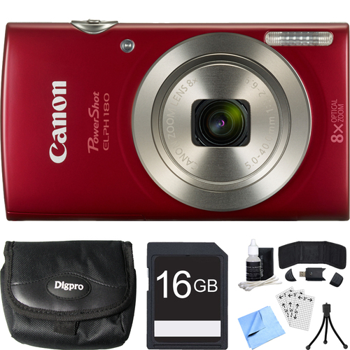 Canon PowerShot ELPH 180 20MP 8x Optical Zoom HD Red Digital Camera 16GB Card Bundle