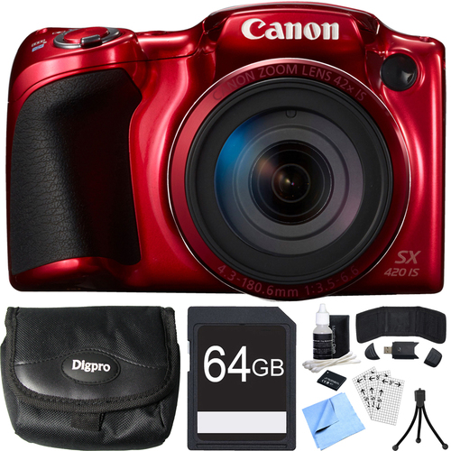 Canon PowerShot SX420 IS 20MP Red Digital Camera + 42x Optical Zoom 64GB Card Bundle
