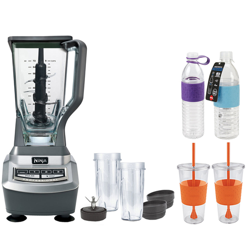 Ninja BL740 Professional Table Top 1100watt Blender-Gray w/ Copco Hydra Bottles Bundle
