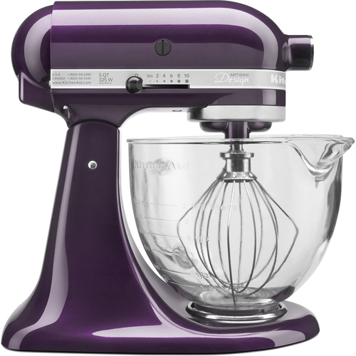 KitchenAid Artisan Series 5-Quart Stand Mixer in Plumberry with Glass Bowl