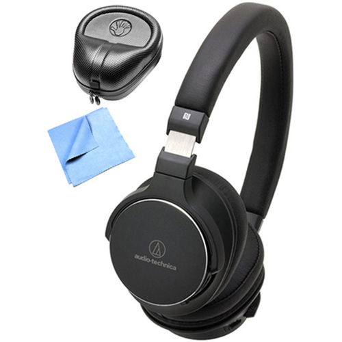 Audio-Technica Wireless On-Ear High-Resolution Headphone w/ Slappa Case & Cleaning Cloth, Black