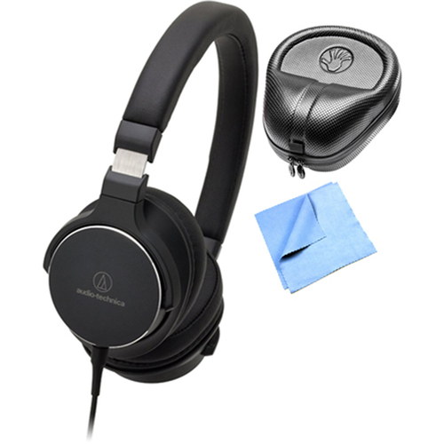 Audio-Technica SR5 On-Ear Hi-Res Audio Headphones w/ Slappa Case & Cleaning Cloth, Black