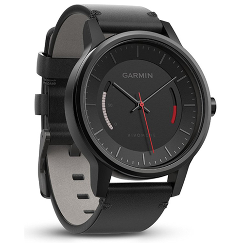Garmin Vivomove Classic Activity Tracker - Black with Leather Band (010-01597-12)