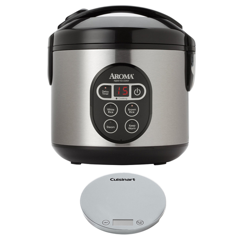 Aroma 8-Cup (Cooked) Digital Rice Cooker and Food Steamer w/ Digital Kitchen Scale