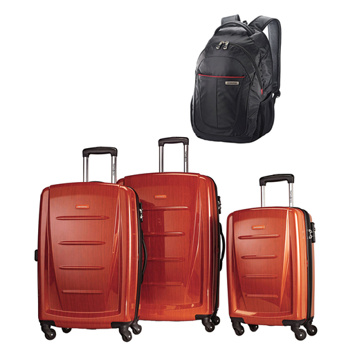 Winfield 2 Fashion Hardside 3 Piece Spinner Set-Orange w/ Business Backpack