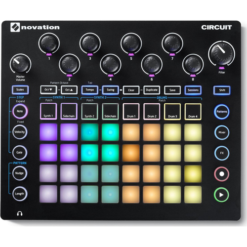 Novation Circuit Groove Box w/ Sample Import: 2-Part Synth, 4-Part Drum Machine and Seque