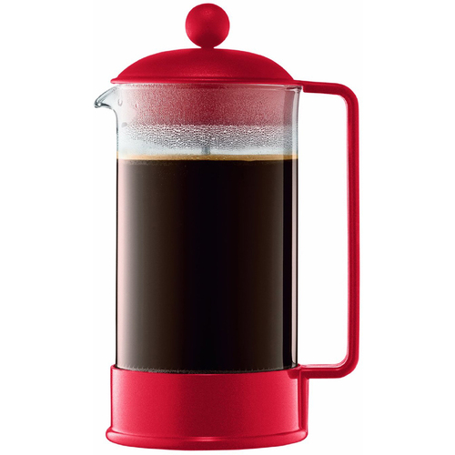 Bodum Brazil 8 Cup French Press Coffee Maker 34 oz Glass Carafe - Red - OPEN BOX