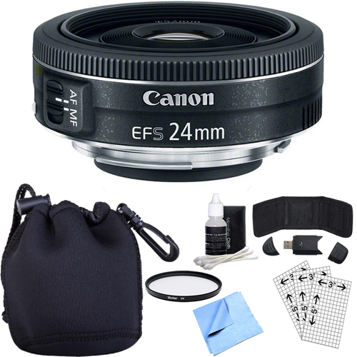 Canon EF-S 24mm f/2.8 STM Camera Lens w/ Essential Photography Accessory Bundle