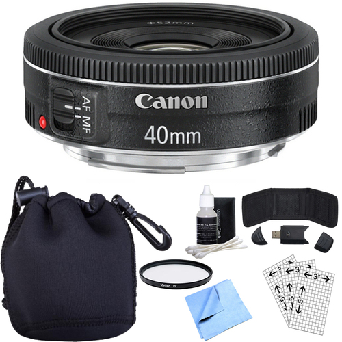 Canon EF 40mm f/2.8 STM Pancake Lens w/ Essential Photography Accessory Bundle