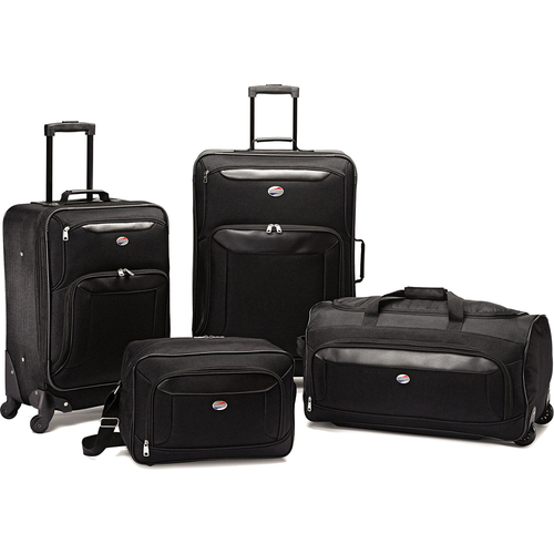 American Tourister Brookfield Blk 4 Pc Luggage 21`/25` Spinners, Boarding,Wheeled Duffle - OPEN BOX