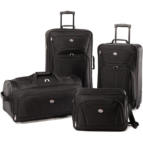 American Tourister Fieldbrook II Four-Piece Luggage Set (Black) 56444-1041 - OPEN BOX