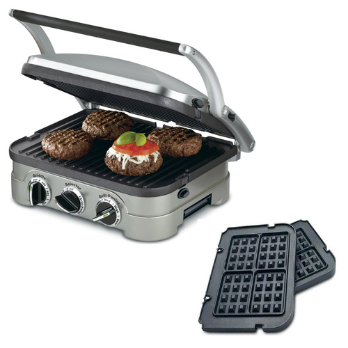 Cuisinart 5-in-1 Grill Griddler Panini Maker Bundle with Bonus Waffle Attachment (GR-4N)