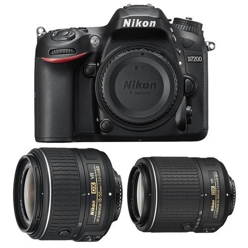 Nikon D7200 24MP HD Digital SLR Camera Body (Black) - Factory Refurbished + Nikon 18-55mm f/3.5-5.6G ED II AF-S Lens + Nikon AF-S DX NIKKOR 55-200mm f/4-5.6G ED VR II Lens